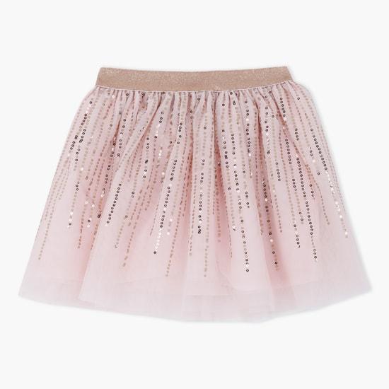 Woven Skater Skirt with Sequin Embellishments