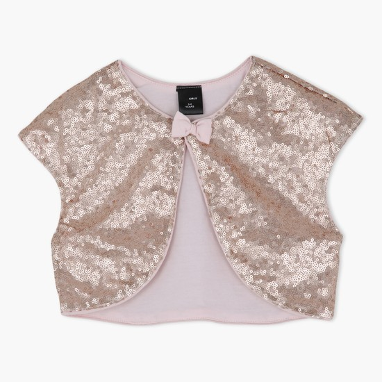 Sequin Design Top With Short Sleeves