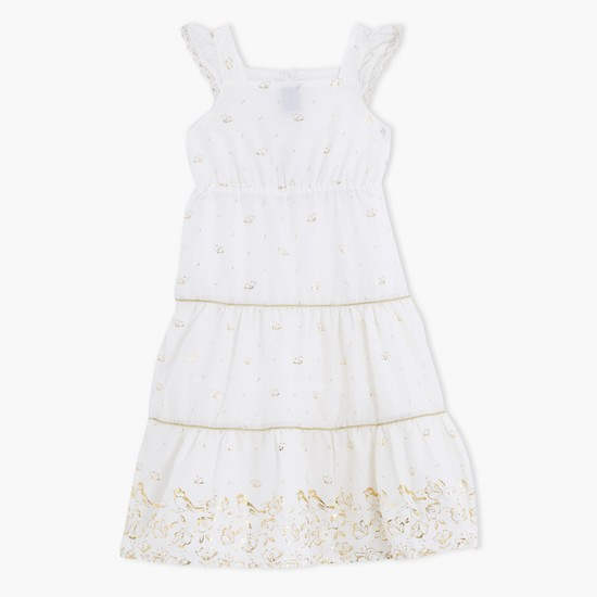 Sleeveless Printed Dress with Lace Trims