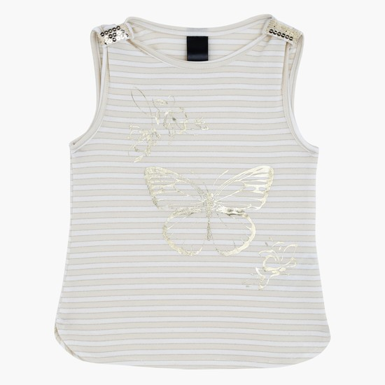 Printed Sleeveless T-Shirt with Round Neck