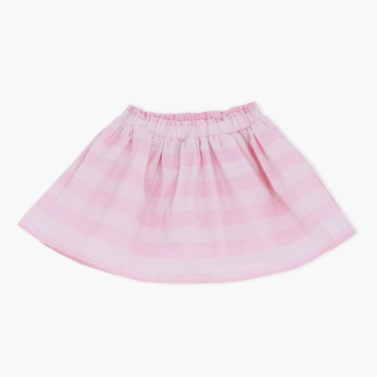 Pleated Skirt with Stripes and Elasticised Waistband
