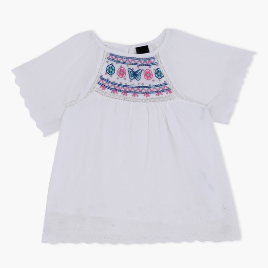 Embroidered Short Sleeves Top