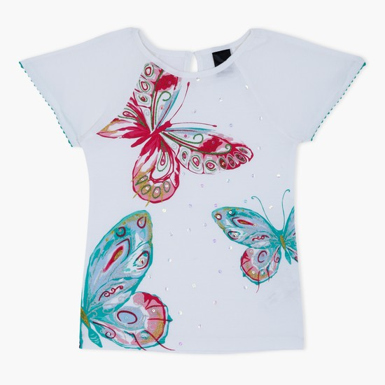 Graphic Print Short Sleeves Knit Top