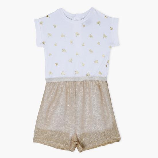 Printed Short Sleeves Jumpsuit