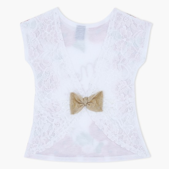 Floral Print Knitted Top with Lace Back and Bow