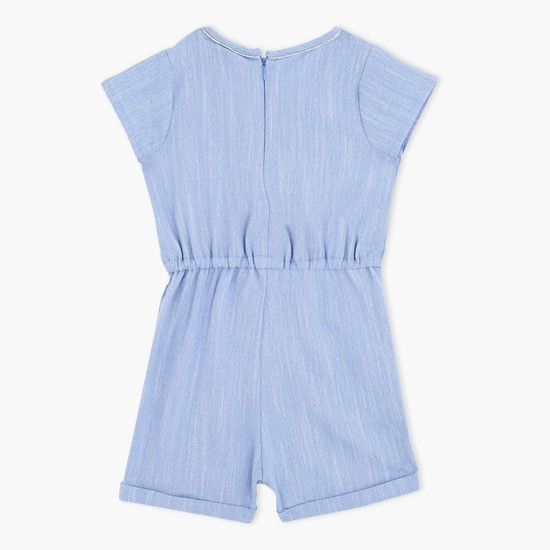 Textured Short Sleeves Playsuit