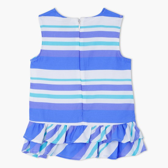 Striped Sleeveless Top with Frill Hem