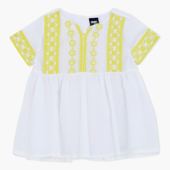 Embroidered Short Sleeves Woven Top