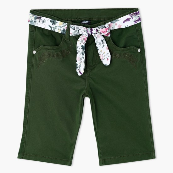 Shorts with Printed Belt