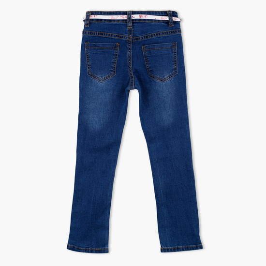 Faded Full Length Jeans with Belt