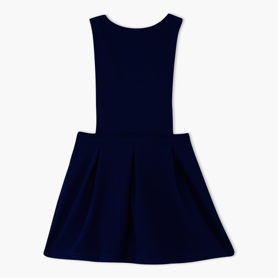 Pleated Dungaree Dress with Bow Applique