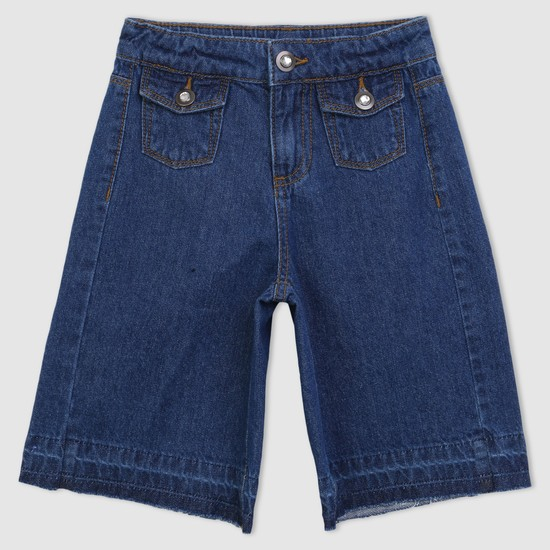 Denim Pants with Button Closure