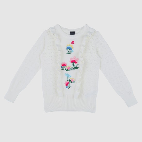 Embroidered Sweater with Long Sleeves