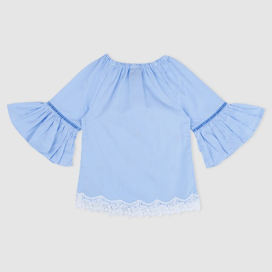 Embroidered 3/4 Sleeves Top