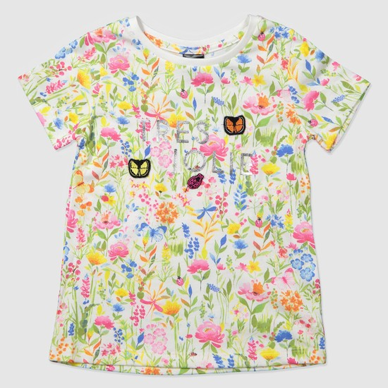 Floral Print Cap Sleeves T-Shirt