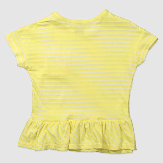 Striped Knit Peplum Top with Pocket Detailing