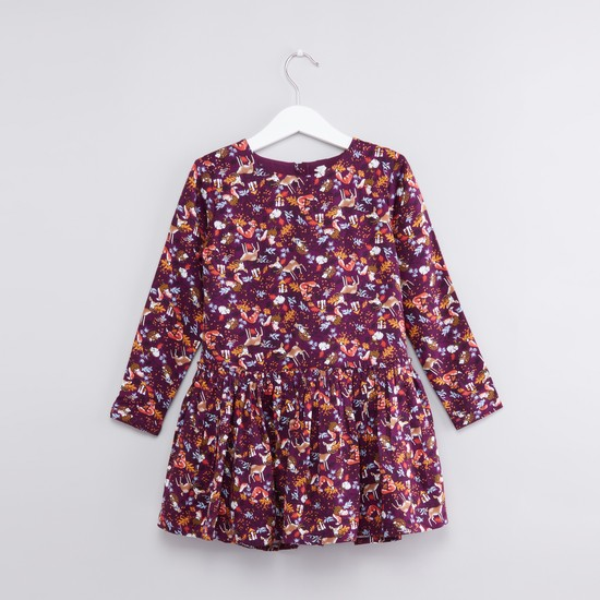 Printed Round Neck Long Sleeves Dress
