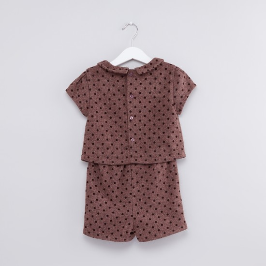 Polka Dot Textured Cap Sleeves Button Closure Jumpsuit
