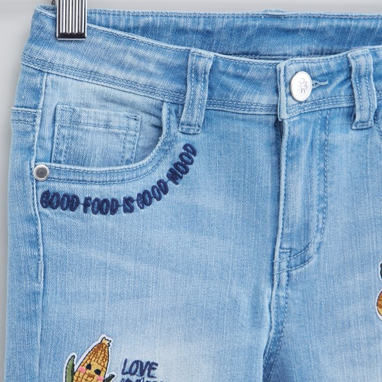 Full Length Jeans with Button Closure and Applique Detail