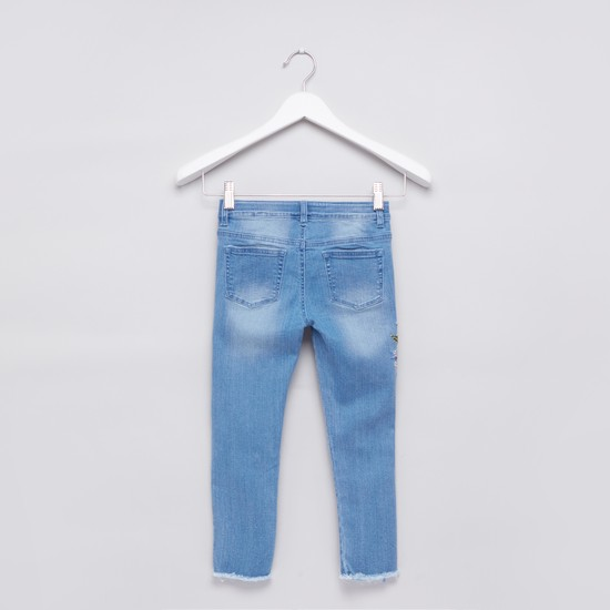 Embroidered Jeans with Frayed Grazers