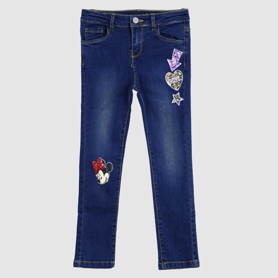 Minnie Mouse Printed Full Length Jeans with Button Closure
