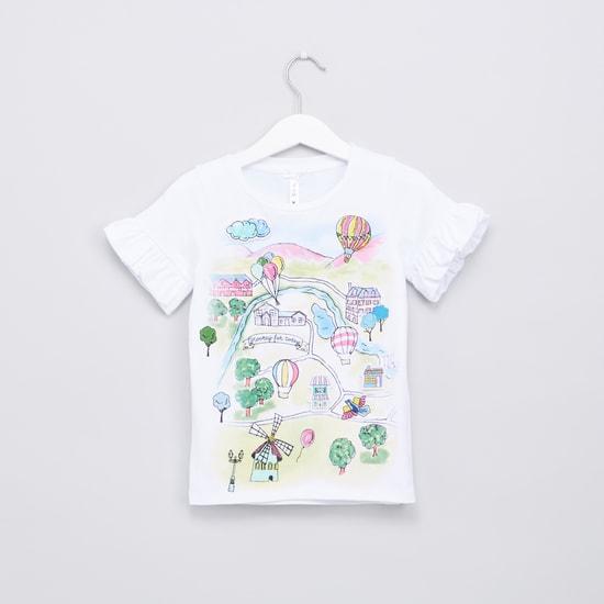 Printed Frill Detail Short Sleeves Top