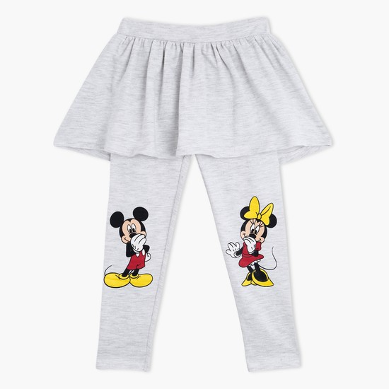 Mickey Mouse Print Skirt Leggings