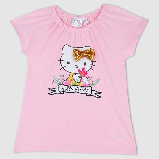 Hello Kitty Embroidered T-Shirt with Cap Sleeves