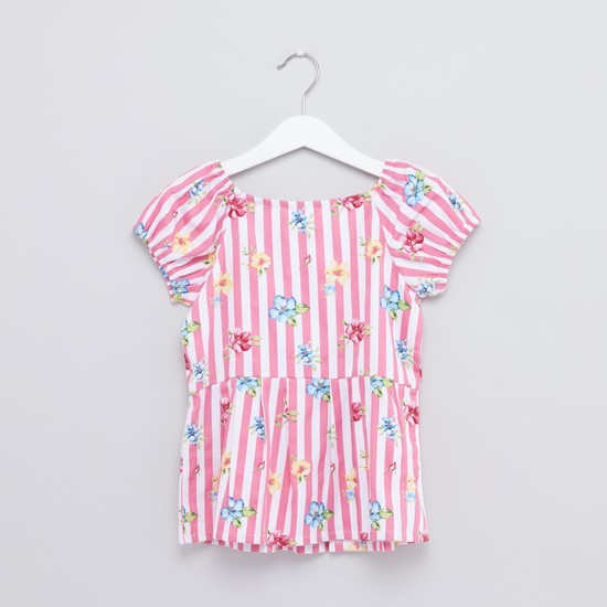 Printed and Striped Top
