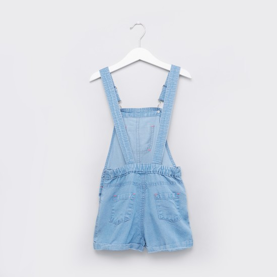 Applique and Pocket Detail Playsuit with Button Closure