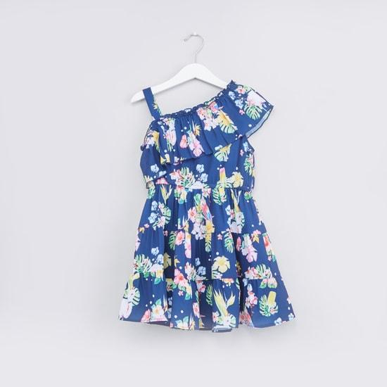 فستان كتف واحد بطبعات زهرية