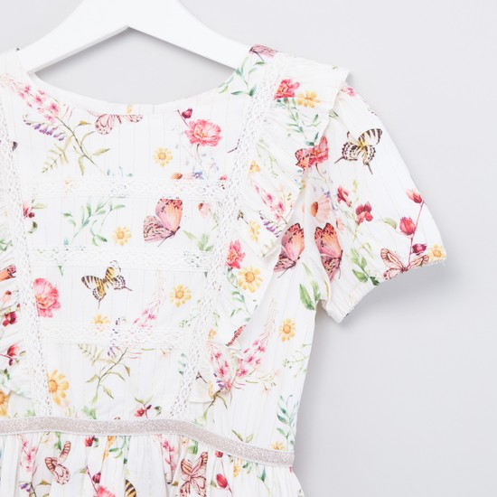 Floral Printed Dress with Round Neck and Short Sleeves