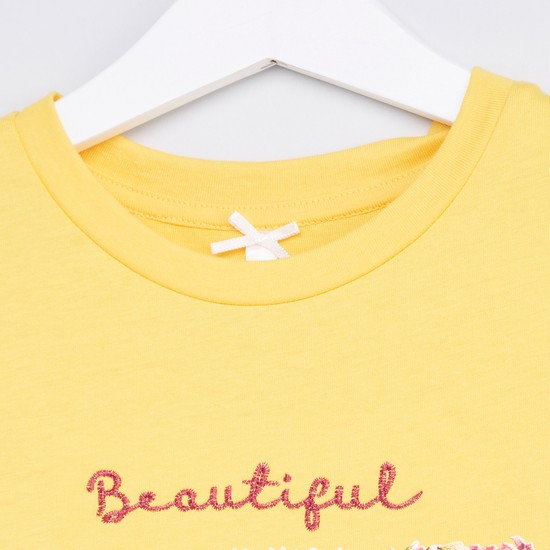Printed and Embroidered Top with Short Sleeves and Frill Detail
