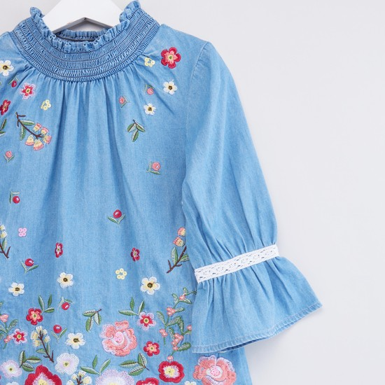 Emroidered Blouse with High Neck and Bell Sleeves