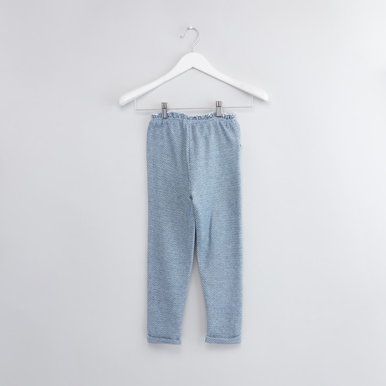 Textured Trousers with Pocket Detail and Drawstring