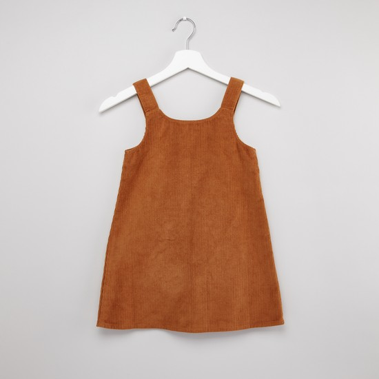 Ribbed Pinafore Dress with Button Closure