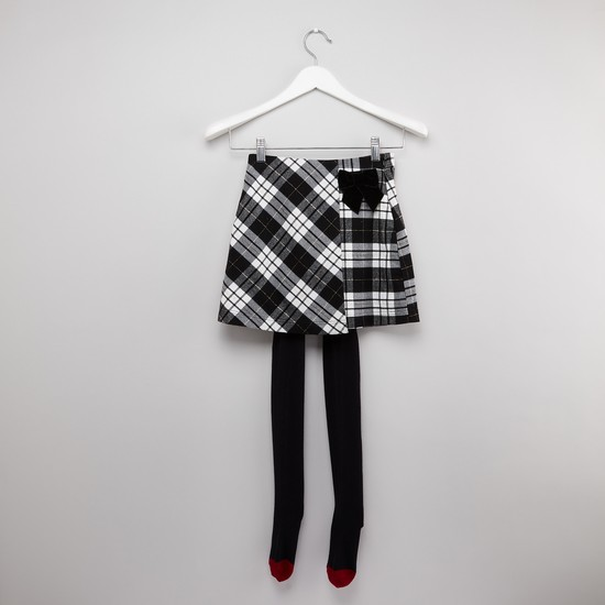 Checkered Skirt with Button Closure and Tights