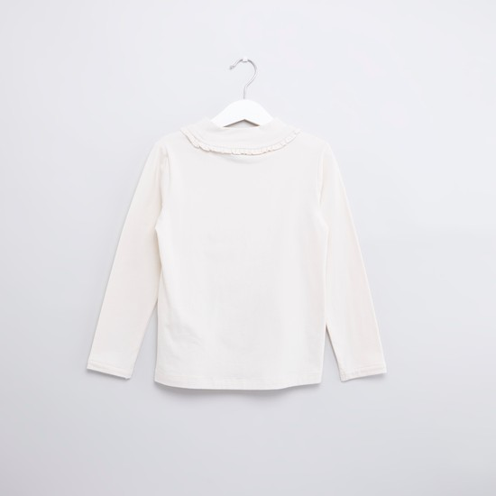 Embellished T-shirt with Round Neck and Long Sleeves