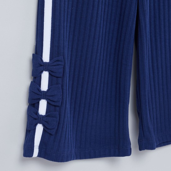 Textured Culottes with Elasticised Waistband and Bow Applique Detail