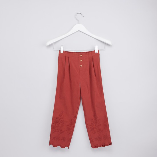 Embroidered Pants with Elasticised Waistband and Scalloped Hem
