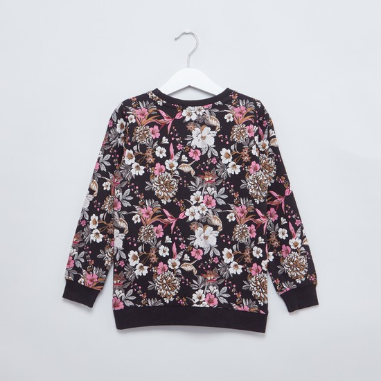 Floral Printed Sweat Top with Round Neck and Long Sleeves
