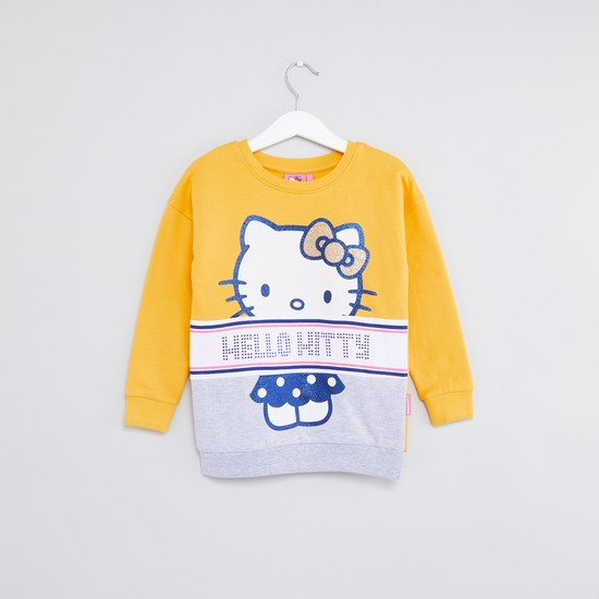 Hello Kitty Printed Sweat Top with Round Neck and Long Sleeves