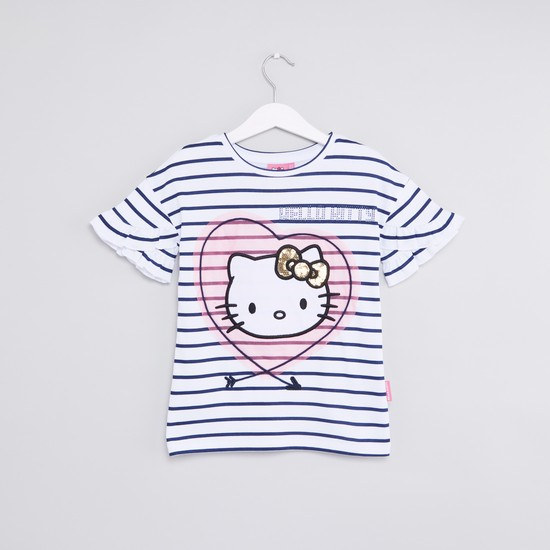 Hello Kitty Striped Round Neck T-shirt with Short Sleeves