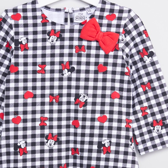 Minnie Mouse Printed Dress with Round Neck and Long Sleeves