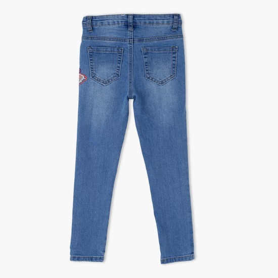 Embroidered Jeans with Button Closure