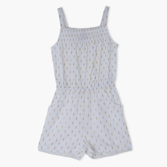 Embroidered Spaghetti Strap Playsuit