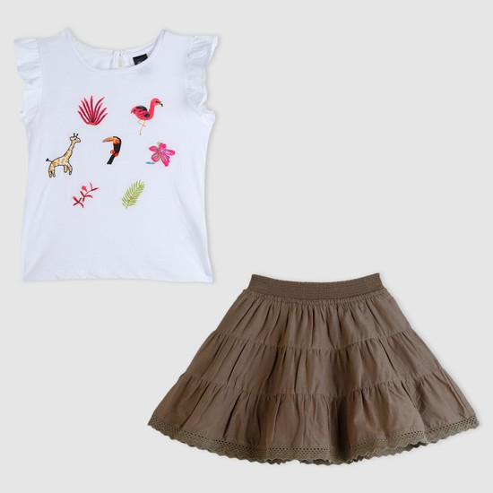 Embroidered T-Shirt and Panelled Skater Skirt Set
