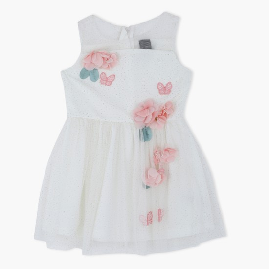 Sleeveless Woven Dress with Flower Appliques