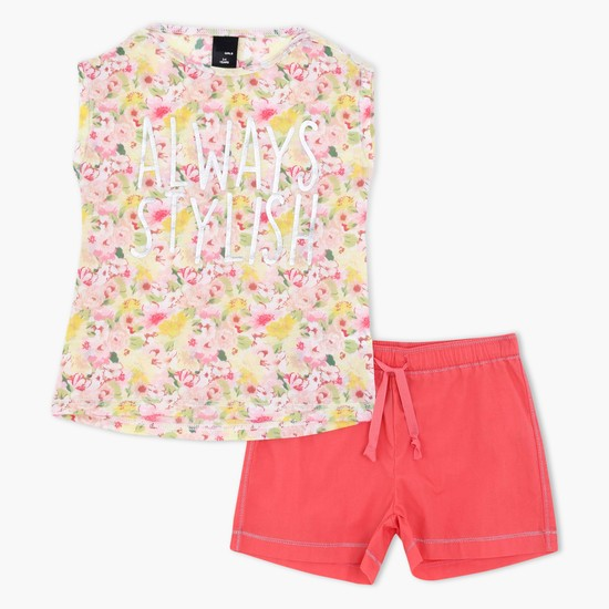 Printed Short Sleeves Top and Shorts Set