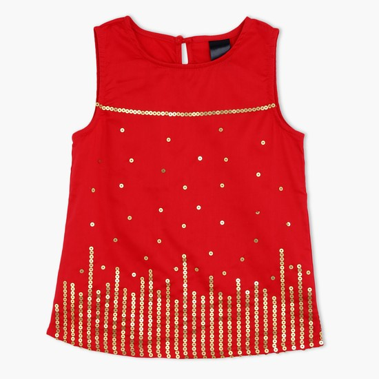 Sleeveless Top with Sequined Pattern